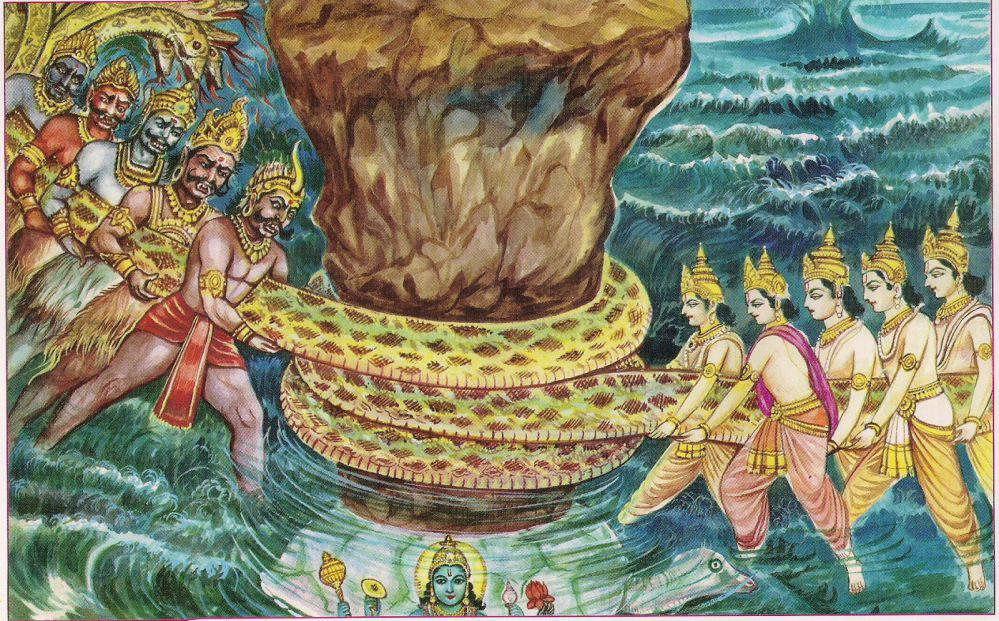 In this artist's depiction, the gods and demons of the world worked together to churn the ocean with a snake named Vasuki wrapped around a mountain. Credit: Unknown author, via Wikimedia Commons, CC BY-SA 4.0