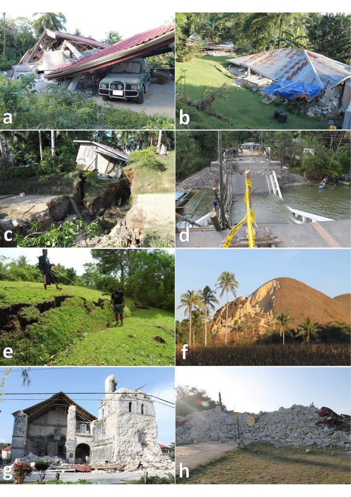 Larawan 3 - Pinsala na idinulot ng magnitude 7.2 na lindol (na may katulad na lakas tulad ng lindol na 7.3 na lindol sa Davao) na tumama sa Isla ng Bohol noong Oktubre 15, 2013 (tingnan ang Larawan 1 para sa focal mechanism at lokasyon ng epicenter), kasama na ang gumuho at yuping mga bahay (a, b), sinkhole (c), sirang mga tulay (d), pagbitak ng lupa (e), gumuhong lupa sa burol (f), at wasak at pinulbos na century-old UNESCO world heritage (g, h). Mga kredito sa larawan: M. Aurelio