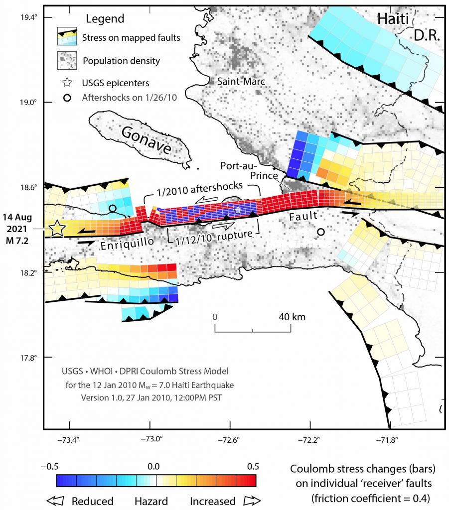 Figure 1. This is Figure 1 from Lin et al. (2010), annotated with the epicenter of the Aug. 14, 2021, magnitude-7.2 Nippes mainshock, which likely struck on a patch of the Enriquillo-Plantain Garden Fault System. Credit: Authors, after Lin et al. (2010)