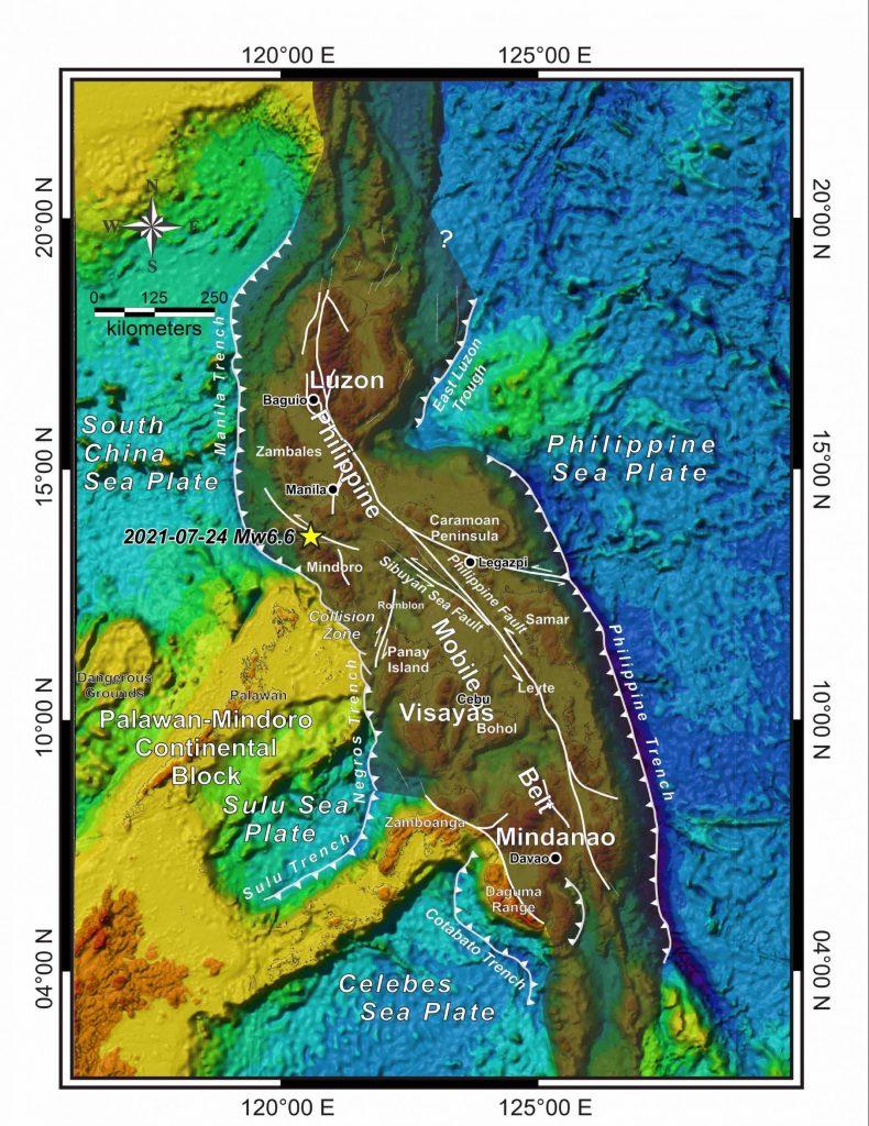 Larawan 1 - Tectonic map ng Pilipinas na nagpapakita ng Philippine Mobile Belt (shaded), mga aktibong subduction zone at internal active faults. Kredito: Pinagtibay mula sa Aurelio et al., (2013)