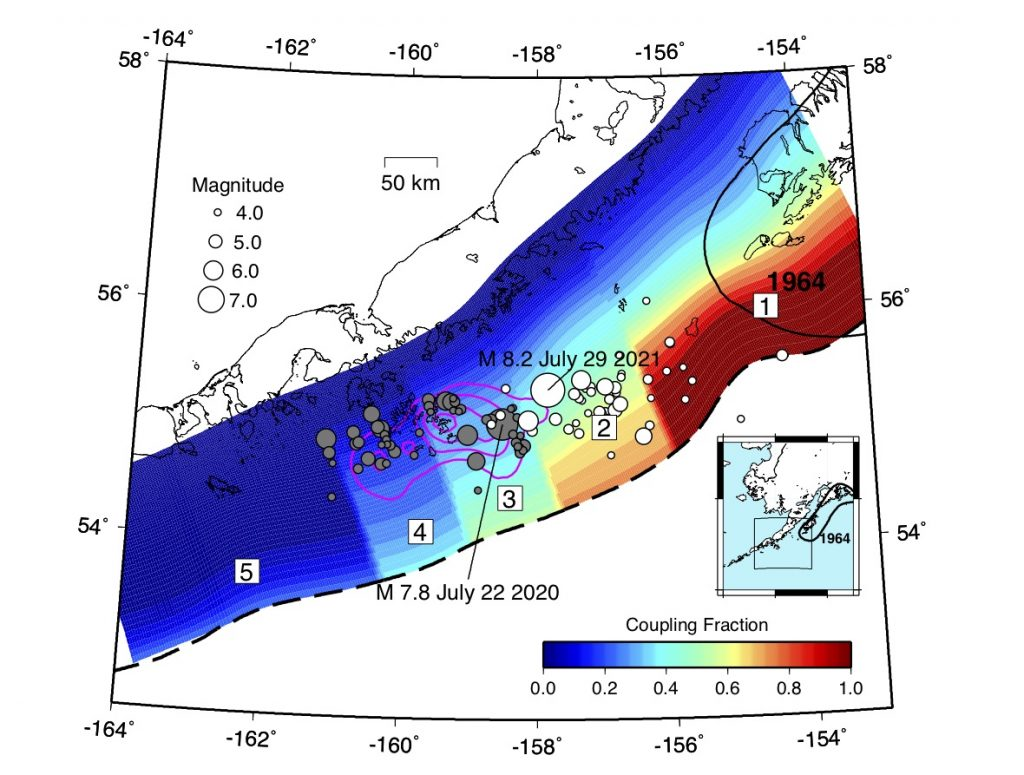 Intersismic coupling distribution of the Aleutian trench outside the Alaskan peninsula by Drooff & Freymueller (2021).  Blue colors represent a weakly coupled plate interface that frequently slips in low magnitude earthquakes.  Red colors represent a strongly coupled plate interface with potential for failure in large amplitude earthquakes.  The segmented plots are numbered from east to west.  The hypocenters (where an earthquake forms) and the first aftershocks of the Simeonof earthquake of July 22, 2020, of magnitude 7.8 and of the Chignik earthquake of magnitude of 8,2 of July 29, 2021 are represented respectively by gray circles and white, with a scaling of the size of the circles by order of magnitude earthquake.  The Simeonof earthquake earthquake rupture patch from Xiao et al.  (2021, in review) is shown as magenta outlines, with each line representing a 0.5-meter slip contour interval.  The Aleutian trench is represented by a dotted black line.  The failure zone of the 1964 magnitude 9.2 large earthquake in Alaska is outlined in black.  Credit: Connor Drooff