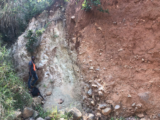 Thyolo fault zone exposure at Matiti, in Malawi. Credit: Jack Williams.