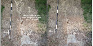 These photos from Virginia show sand dikes left by previous earthquake-induced liquefaction. Credit: Martitia Tuttle