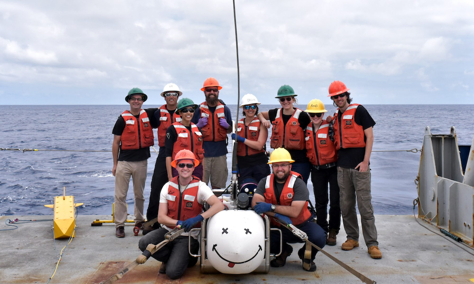 Science team for the first leg of the research cruise with SUESI on deck. Back row (left to right): Samer Naif, Eric Attias, Christine Chesley, Chris Armerding, Dallas Sherman, Gesa Franz, Andi Adams, and Bar Oryan. Front row (left to right): Daniel Blatter and Jake Perez. Credit: Matt Hirsch