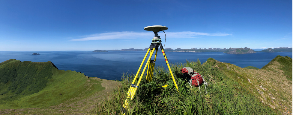 A temporary GPS Site can be seen here in the Shumagin Islands. Credit: Jeff Freymueller