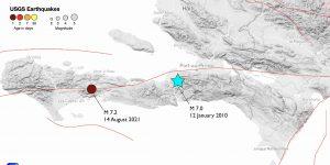 Location of Haiti earthquake, 14 August 2021