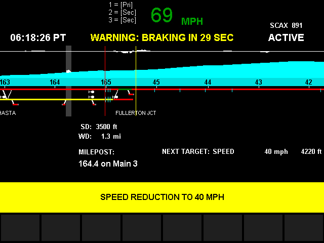 Metrolink's Positive Train Control system showing an automatic speed reduction alert. Credit: Paul Gonzales
