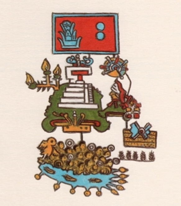 Hand drawing of boat with people in it and symbols