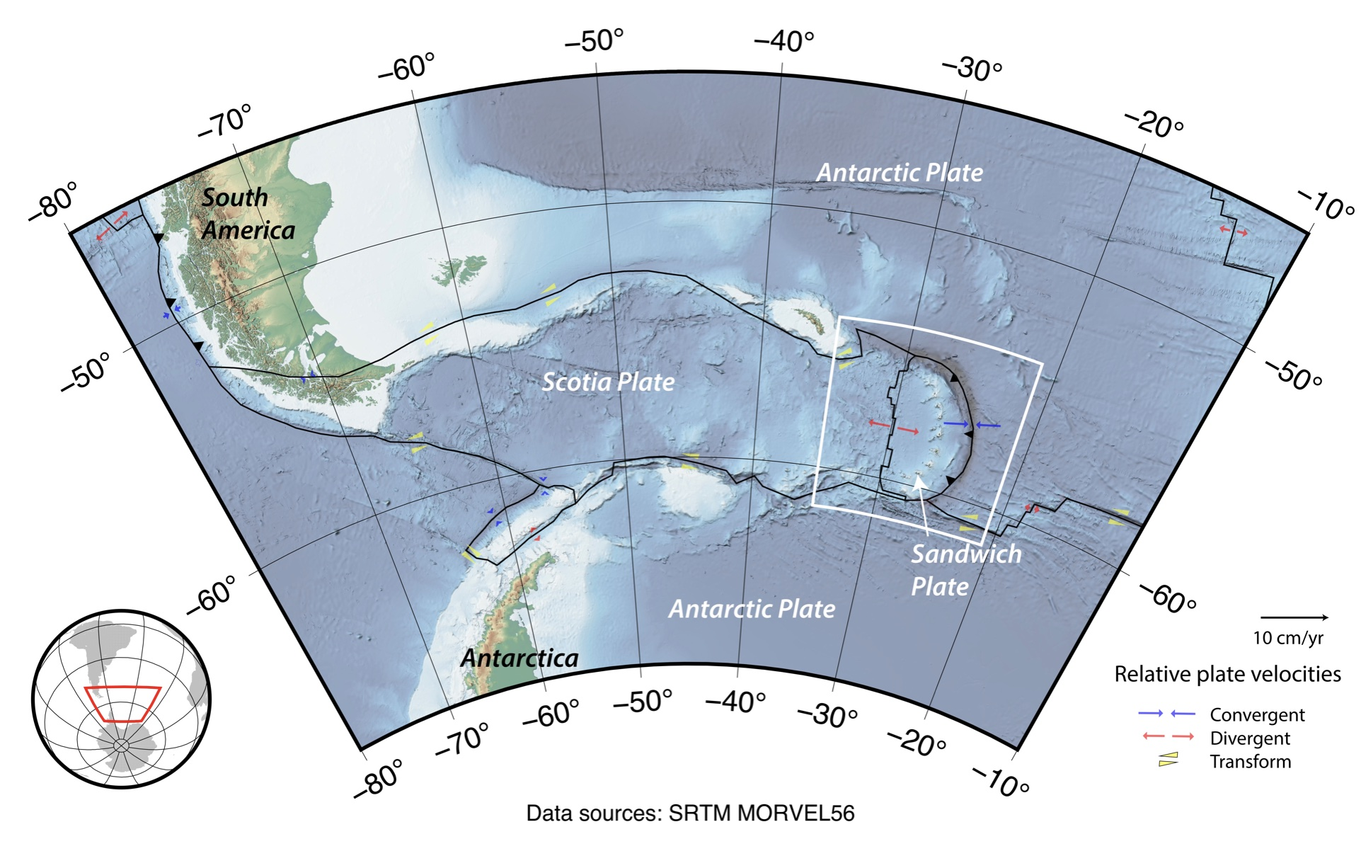 Map of South Sandwich Islands region