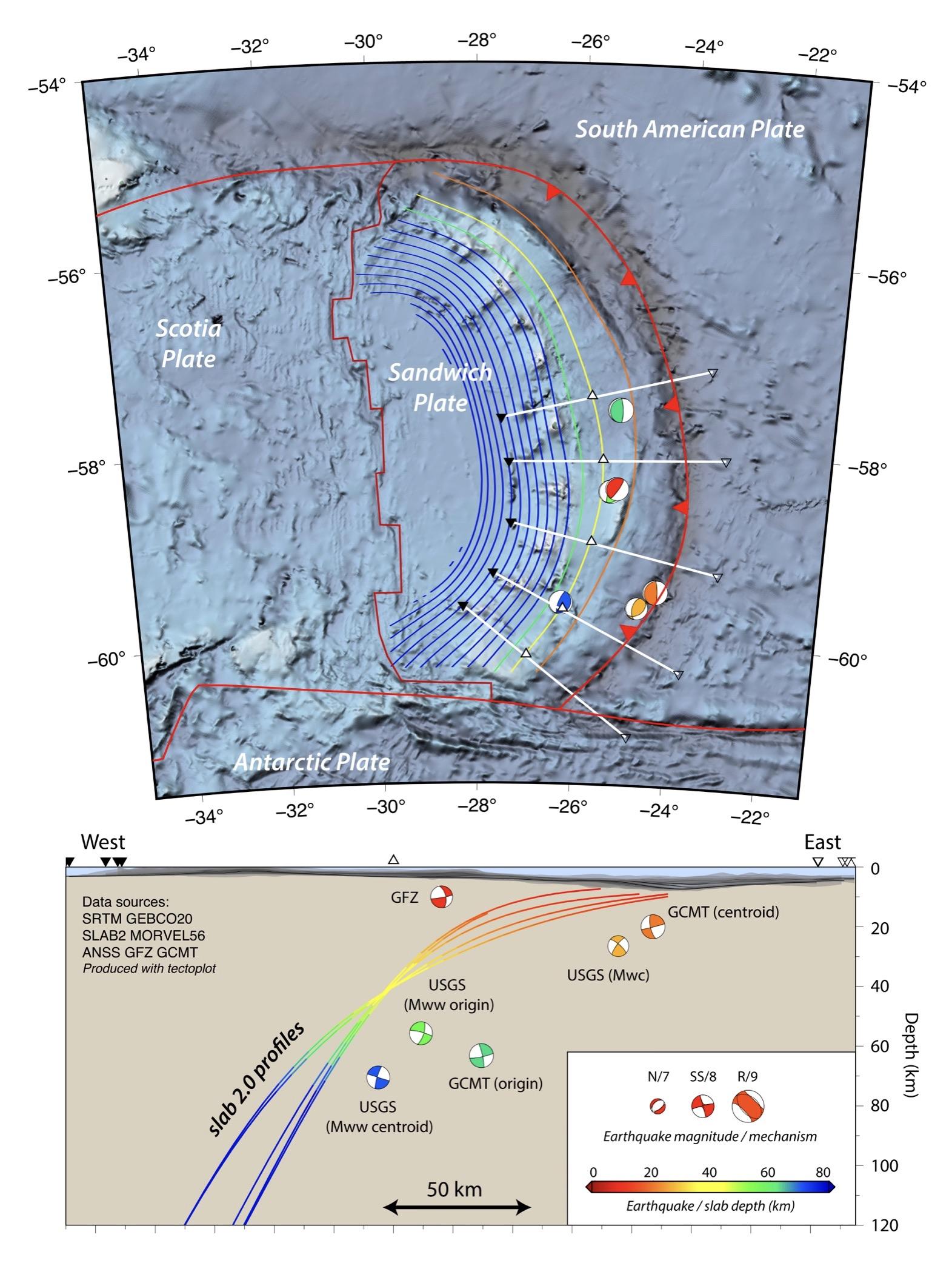 Map of ocean area with ocean floor topography