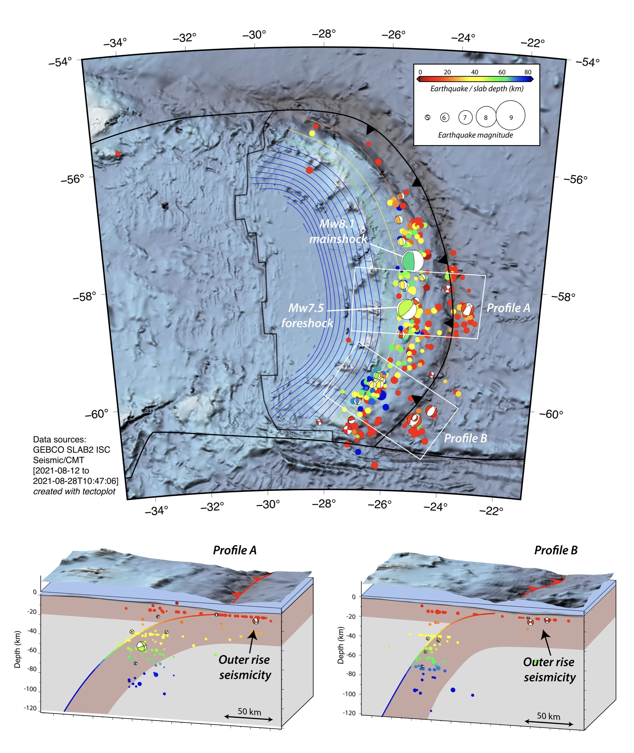 Map of ocean area with ocean floor topography. Cross sections below.