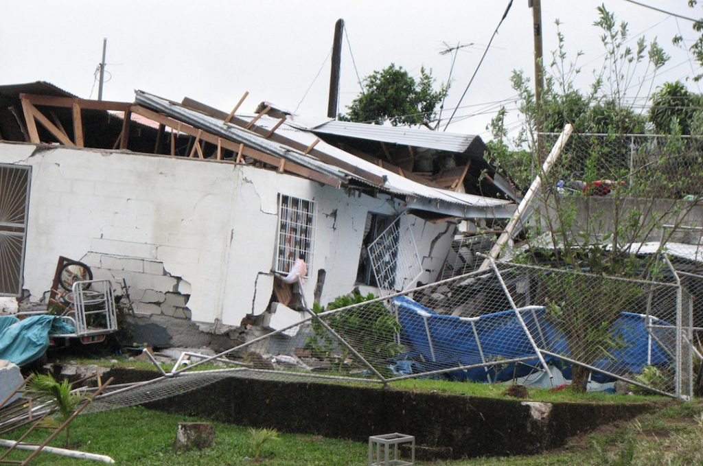 The 2009 Cinchona earthquake, that struck close to the capital city of San Jose, caused 34 fatalities and collapsed houses across Costa Rica. Credit: Capt Diana Parzik, US Army, via Wikipedia, CC-Public Domain Mark 1.0