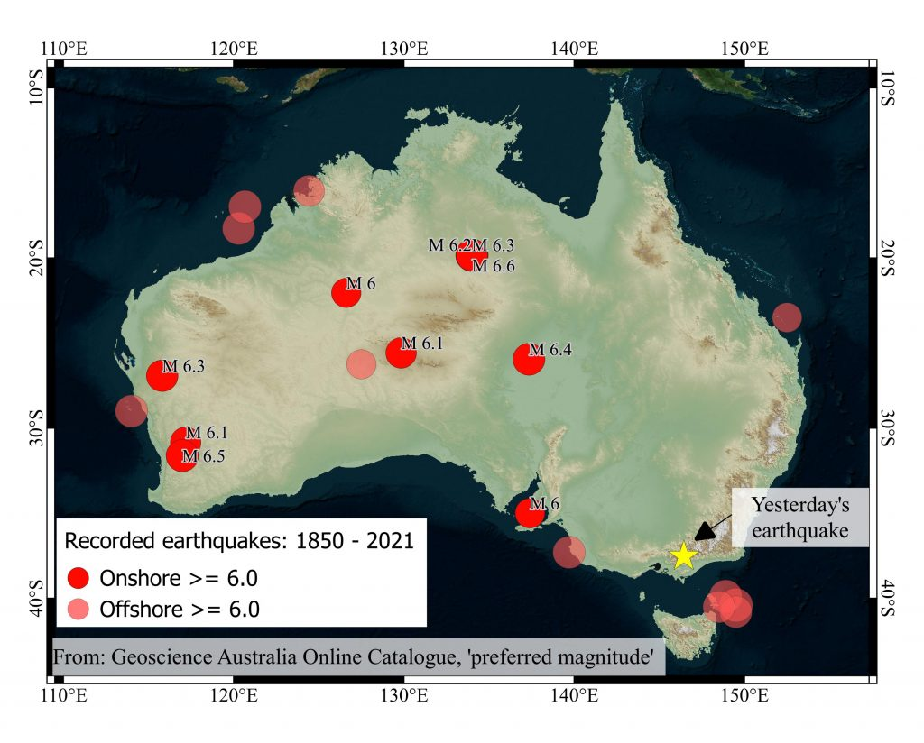 Earthquakes of magnitude-6.0 and greater since 1850. Data from Geoscience Australia.