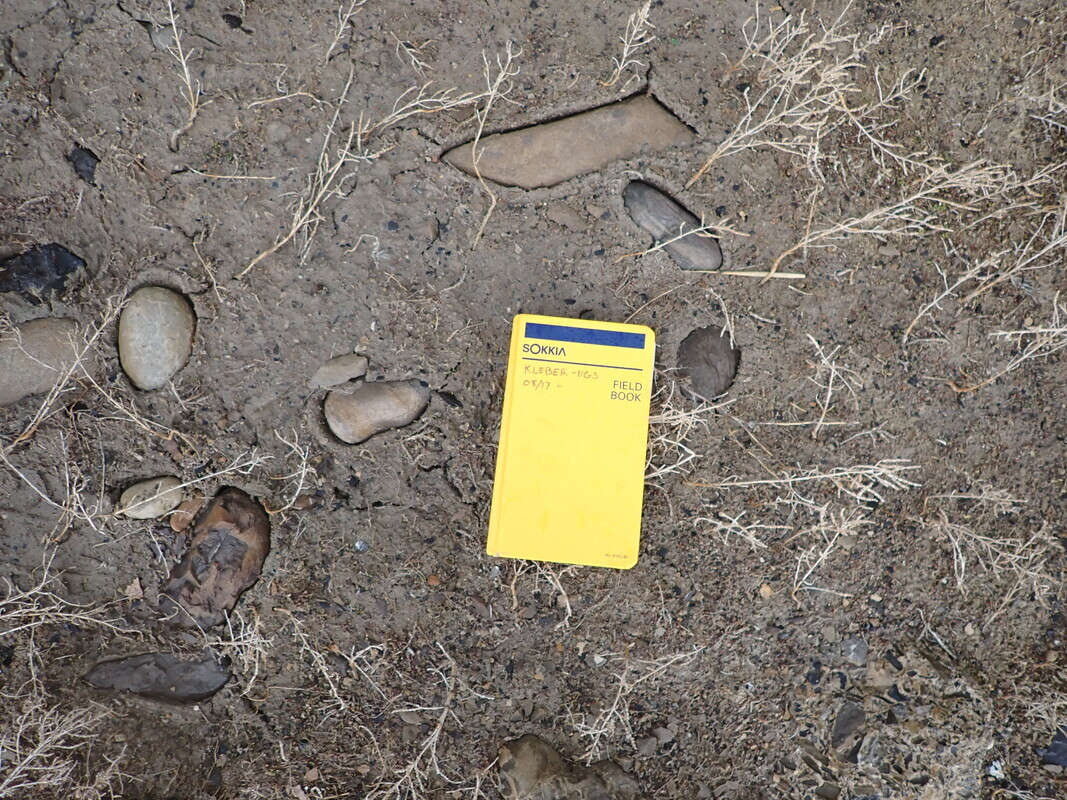 Rocks partially buried in dirt. Yellow book on the ground in center.