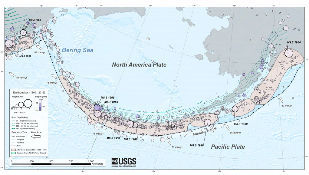 The Aleutian subduction zone hosts hundreds of magnitude-4 to -5 earthquakes each year and thousands of smaller ones. Earthquakes are represented by circles, with larger circles indicating greater magnitudes. Credit: USGS