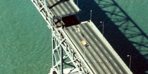 Double lane bridge with section of top deck missing
