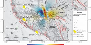 Figure 1 Seismotectonics of four moderate magnitude, thrust-mechanism earthquakes (shown by beachballs) occurring in the same region in Batangas, southern Luzon, Philippines, within a period of nine weeks. The most recent event of September 27, 2021 is shown in red for emphasis. Result of Coulomb stress change modeling following July maganitude-6.6 event shown. References: Jarvis et al., 2008 for SRTM topography; Weatherall et al., 2020 for bathymetry; Toda et al., 2011 for CST modeling; PHIVOLCS for earthquake data. GMT (Wessel and Smith, 1995) was used to generate the map. Credit: Aurelio, Lagmay, Escudero, Catugas.