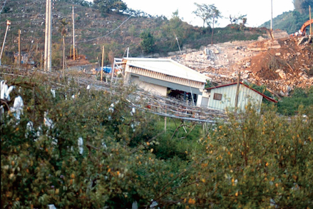 Building located on a fold scarp generated either during or soon after the 1999 magnitude-7.6 Chi-Chi earthquake in Taiwan. Credit: Yue-Gau Chen. Photo reproduced from Chen et al. (2007).