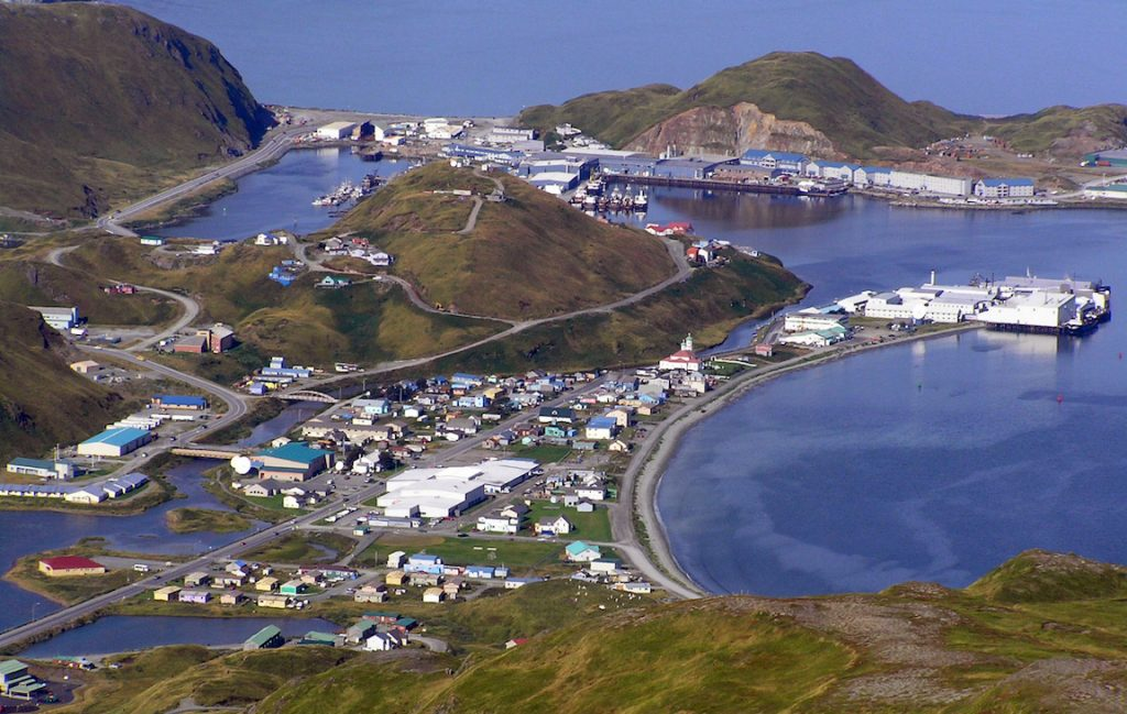 A view of Unalaska City in the Aleutian Islands. The Aleutian Islands are part of the northern edge of the subduction zones around the Pacific Ocean. Credit: Tom Doyle, US Department of Transportation